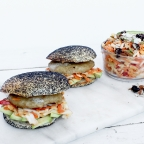 Organic Grilled Chicken Burgers with Peanut Slaw