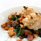 Organic Roasted Salmon with Sticky Rice & Sweet Potatoes