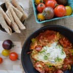 Organic Shakshuka with Greens & Grilled Pita