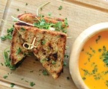 RECIPE 1: Beet & Feta Grilled Cheese with Roasted Carrot Soup