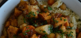 Root Vegetable Tagine with Chickpeas & Couscous