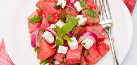 Watermelon & Feta Salad with Mint Leaves