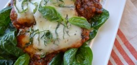 Healthy Chicken Parmigiana with Spinach & Spaghetti