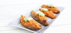Lentil Joe Sweet Potatoes with Celery & Bell Pepper
