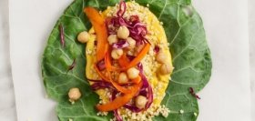 Collard Wraps with Carrot Hummus