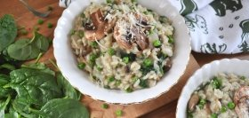 Mushroom Sage Risotto with Spinach & Peas