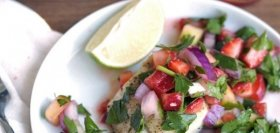 Strawberry Salsa Pickerel with Quinoa & Black Beans