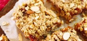 Brown Butter Rhubarb & Almond Oat Bars