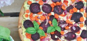 Beet & Carrot Pizza with Pesto Ricotta and Herbs