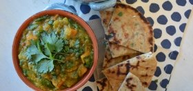 Sweet Potato Lentil Dhal with Grilled Naan & Spinach