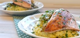 Trout with Leeks & Sage over Creamy Polenta