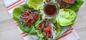 Korean Beef Lettuce Wraps with Sweet Chili Sauce