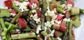 Roasted Rhubarb and Asparagus Pasta