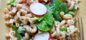 Radish and Spinach Pasta Salad