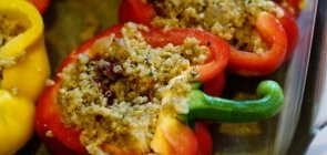 Bell Peppers Stuffed with Acorn Squash and Quinoa
