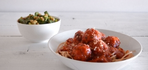 Italian Chicken Meatball Spaghetti with Caesar Salad