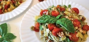 Basil Pesto Spaghetti with Roasted Tomatoes & Arugula