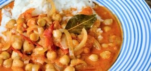 Chard & Tomato Curry with Chickpeas and Rice