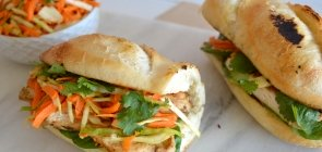 Chicken Banh Mi with Lemongrass Slaw & Spinach