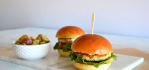 Chicken Burgers with Basil Pesto Radish & Potatoes