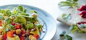 Chickpea, Avocado and Pea Shoot Salad