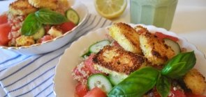 Cucumber-Watermelon Quinoa with Crispy Halloumi & Basil Dressing
