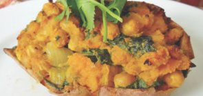 Curried Sweet Potatoes with Chickpeas & Indian Chopped Salad