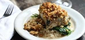 Feta-Crusted Salmon with Garlic Wilted Spinach Risotto
