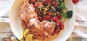 Seared Oregano Trout with Sweet Corn & Tomato Salad
