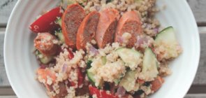 Italian Sausage on Quinoa with Grape Tomatoes & Spinach