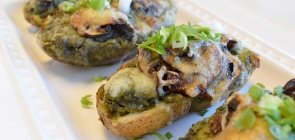 Mushroom-Kale Potato Skins with Santa Fe Chili Soup
