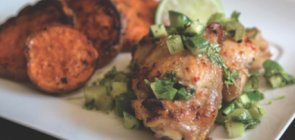 Roasted Chicken Thighs with Rhubarb & Cucumber Salsa