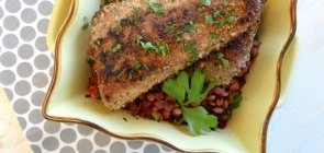 Pecan Crusted Trout on Lemon-Braised Chard & Lentils
