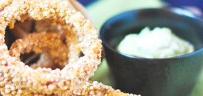 Quinoa Crusted Red Onion Rings