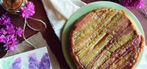 Whole Wheat Upside Down Rhubarb Cake