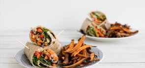 Roasted Veggie Wraps with Hummus & Sweet Potato Fries