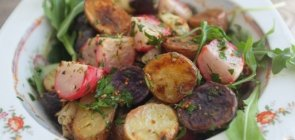 Roasted Radishes & Baby Potato Salad with Arugula