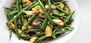 Celery Salt Roasted Green Beans and Brussels Sprouts