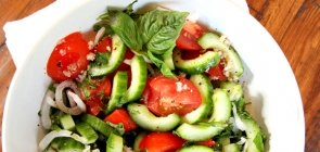 Strawberry, Cucumber, and Basil Salad