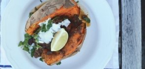 Ancho Beef Chili Stuffed Baked Sweet Potatoes