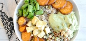 Green Goddess Rice Bowl with Sweet Potato & Sprouts