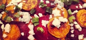 Roasted Beets and Sweet Potatoes with Feta