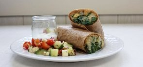 Spanokapita Wraps with Chopped Greek Salad