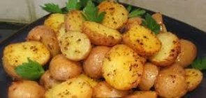 Roasted Baby Potatoes with Green Garlic Sauce