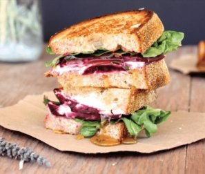 Organic Beet & Feta Grilled Cheese with Roasted Carrot Soup