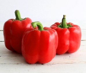 Organic Peppers, Red Bell (3 count) - 1 bag