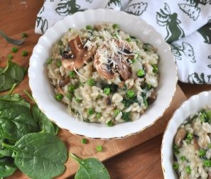 RECIPE 1: Mushroom Sage Risotto with Wilted Spinach