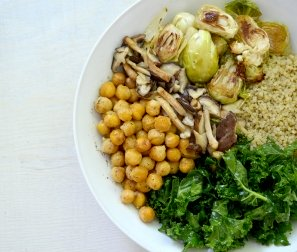 Organic Roasted Brassica Caesar with Quinoa & Garlicky Chickpeas