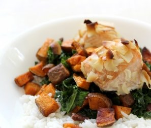 RECIPE 5: Roasted Coconut Salmon with Sweet Potato & Kale