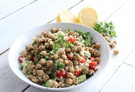 Organic Couscous Tabbouleh with Za'atar Chickpeas